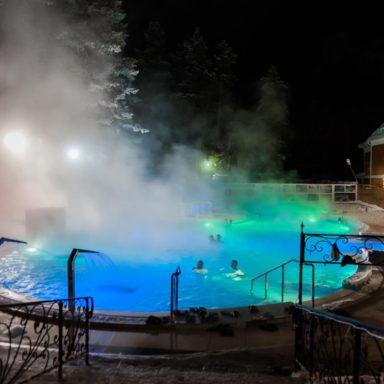 Зимний термальный бассейн в Челябинске